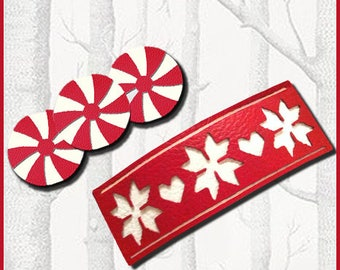 Faux Leather Festive Barrettes SVG Digital Cut File for Cricut, Silhouette Machines, Ladies, Girls, Women, Christmas, Gift, Painted, Layered