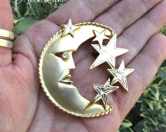 Park Lane Moon & Stars Pin/Pendant, Shawl Pin - Vintage Signed Satin Finish Gold Moon w/Rhinestone Eye - Great Gift for Her