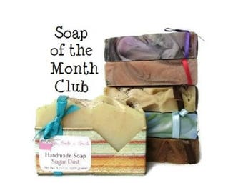 Soap of the Month Club - 6 Month Vegan Soap Subscription - Artisan Soap - Birthday Gift Her - Monthly Subscription Box - 6 months of Soap