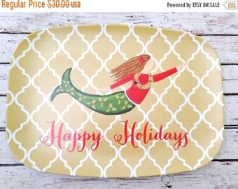 ON SALE Holiday Melamine Platter - Melamine Platter - Mermaid Platter - Mermaid Dish - Happy Holidays Platter - Mermaid Cookie Plate - Merma