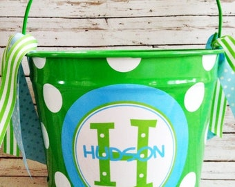 ON SALE custom 10 QUART bucket with stacked name in green and blues