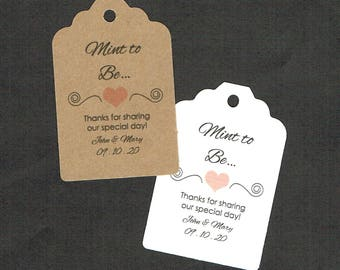 Wedding Tags, Printed Tags, Set of 50, Wedding Shower Tags, Tags, Wedding Favor, Mint To Be Tag