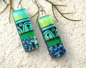 Custom Order, Golden Green Blue Earrings, Dichroic Earrings, Dichroic Jewelry, Dangle Drop Earrings,Sterling Earrings, ccvalenzo, 072017e100