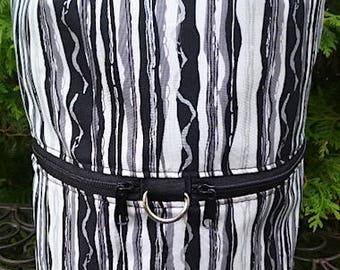 Large knitting bag, drawstring bag, knitting in public bag, large project bag Black and White Stripe, Large Kipster