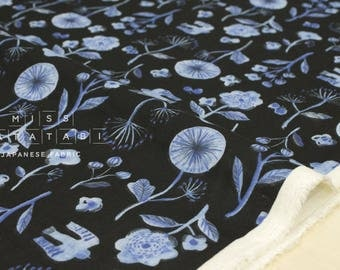 Japanese Fabric Kokka Trefle Cucito - watercolor garden double gauze - navy blue - 50cm