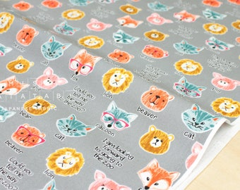 Japanese Fabric Going to the Zoo - grey - 50cm