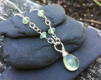 Prehnite Sterling Silver Necklace, 18 inches long, Moss Celery Pear Mint Green Gemstone, Handmade Necklace, Wirewrap Pendant, Kerri Hale VT