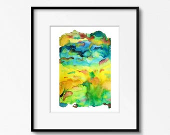 Blue, Yellow, Green, Watercolor Art Print, Abstract Art Print, Watercolor Painting, Abstract Watercolor, Abstract Painting, Watercolor Wall