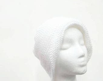 White beanie no brim hand knitted 5109