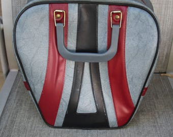 VINTAGE tri-colored bowling ball bag