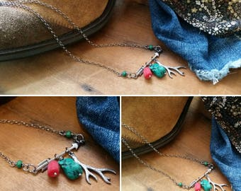 Sterling silver Arrow and antler charm necklace, turquoise and coral