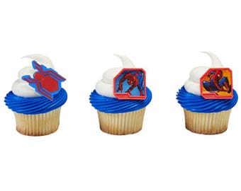 24 Spiderman Homecomimg Cupcake Ring Toppers/Favors! NEW! Birthday Supplies.