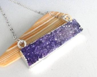 Lavender Purple Druzy Bar Silver Necklace