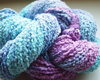 Handpainted Yarn Cotton Linen 120yards 2.4oz CL1 Worsted Weight Knitting Aspenmoonarts Hand Painted Turquoise Purple