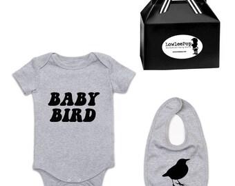 Baby Bird Rockstar Baby Gift Set grey romper one piece layette onesie and bib