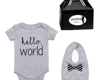 Hello World Rockstar Baby Gift Set grey romper one piece layette onesie and Bowtie bib
