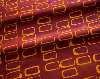 Forma:Rectangles Hand Dyed And Patterned Cotton Fabric in Orange and Raspberry