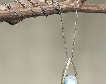 Silver teardrop pendant necklace with round cabochon moonstone gemstone and oxidized sterling silver chain/TP