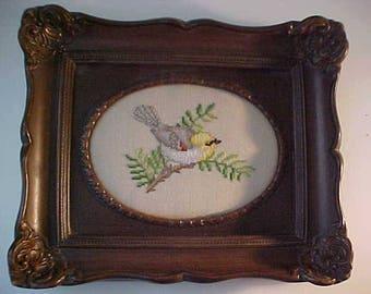 vintage cross stitich RARE framed picture of Arizona bird VERDIN