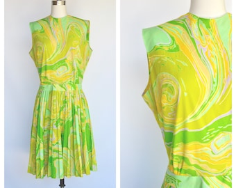 1960s garden party dress / sleeveless pleated skirt dress / large