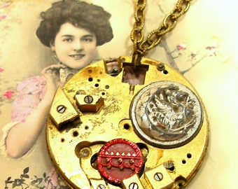DRAGON Moon necklace, Antique pocket watch & buttons. Unique button jewellery.