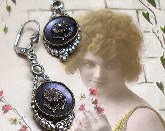 French BUTTON earrings, Purple & gold Victorian FLOWERS on silver. Antique button jewellery.