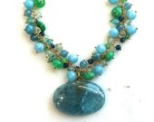 Huge Aquamarine and Multi-Gemstone Pendant Necklace in Blues and Greens...