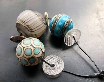 Blown glass lampwork hollow bead set handmade by Lori Lochner Rustic neutral gray ivory and turquoise statement necklace artisan jewelry