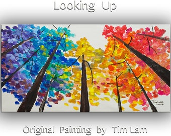 Large art Landscape Painting  autumn aspen forest Looking Up Sky by tim lam 48x24x1.4
