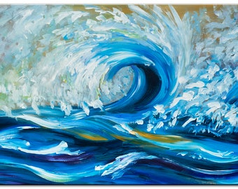 "Sale Art Painting Abstract Painting Original modern Rolling wave 48"" landscape painting on gallery canvas by tim lam"