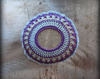 Crocheted Stone, Handmade, Unique Gift, Decorative Doily Rock, Bohemian Beach, Light Blue, Purple, Gift, Miniature Art, Collectible, Monicaj