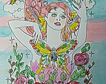 spring Fairy, summer, solstice, Beltaine, hand colored , print , Dame Darcy , illustration