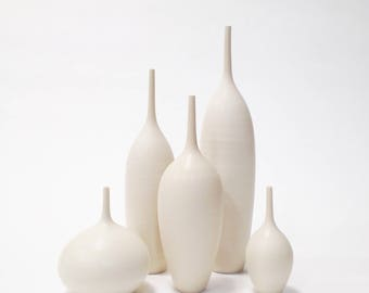 Ships Now- set of 5 white matte bottles by sara paloma