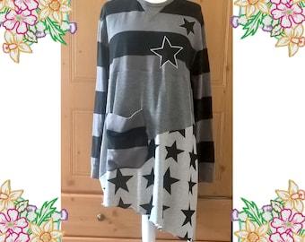 Sweatshirt Dress, funky long black and grey sweatshirt. Size Large / XL. Stripes, big patch Pocket, Star detail. Upcycled Unique Clothing.