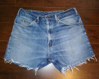Levis Vintage 70's Orange tab LEVIS denim cut off jean shorts  waist W 32