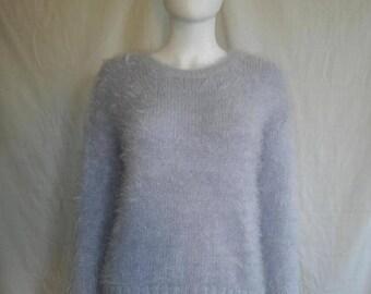 SALE 25% off SALE 90's fuzzy furry sparkle sweater shirt / Rave / Club Kid