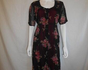 SALE 25% off SALE 90s black long rayon floral dress    Small/Medium