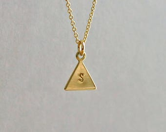 Triangle Necklace, Initial Necklace 14K Gold Fill and Brass, Personalized Triangle Necklace, Custom Initial Necklace, Tiny Triangle Necklace