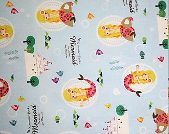 MERMAIDS on blue Japanese cotton quilting fabric by Kokka 1 yard left SALE