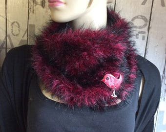 fur snood - handknitted - red