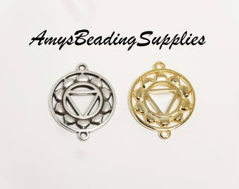 Solar Plexus CHAKRA 25x20mm, 2 pieces (Double Sided) Select finish: Antique Silver or Gold Plated