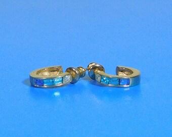 Vintage Blue CZ Gold Open Hoop Post Earrings
