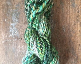 I Can't Help Falling In Love With You,  handspun art yarn, 68 yards, bulky two ply yarn, wool and mohair blend, greens and greys