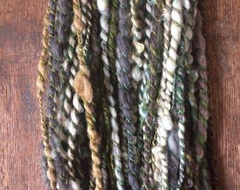 Love Me Tender, handspun art yarn, 72 yards, chubby two ply yarn, llama, wool, bamboo, and mohair blend,
