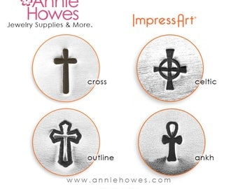 Impressart Metal Stamp  - Cross Design Stamp Choose Your Cross Design Cross Ankh Celtic Outline
