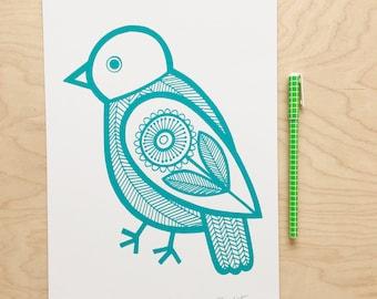 Shy Bird Screen Print by Jane Foster - Scandi monochrome Teal