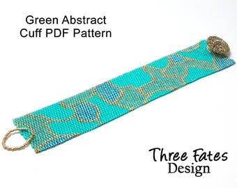 Peyote Cuff Pattern, Abstract, Green and Gold, Bracelet Pattern, Instant Download