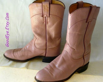Vintage Pearl PINK Roper Boots / Ladies size 6 B  Eu 36  UK 3 .5 / Justin Boot Co. USA / Leather Cowboy Flat Ankle Boot Mens sz 5