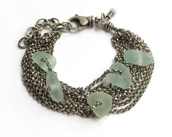Sterling Silver Multichain Aqua Scottish Seaglass Beach Glass Chain Bracelet Adjustable Swivel Clasp