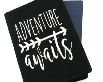 Adventure Awaits Quote Embroidered Passport Cover, Passport Holder, Passport Wallet, Passport Case, Typography Gift